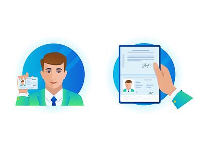 Verification icon face man block chain drivers license id pasport document icon verification