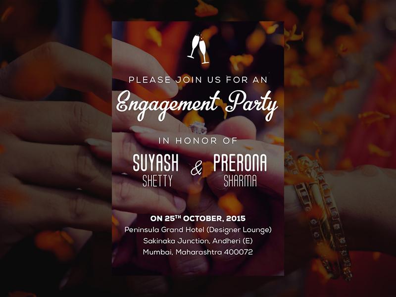 Indian Engagement Invite desi mumbai party cocktail invite engagement indian wedding indian india typography