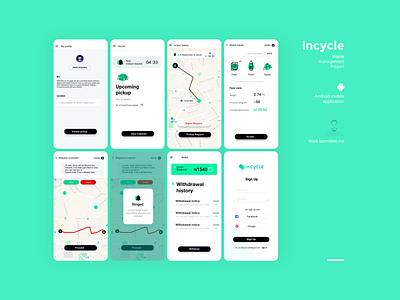 Incycle Ux Ui Project mock up design ux app ui