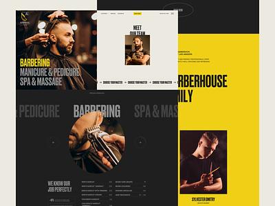 ADMIRAL BARBERHOUSE WEBSITE startup service minimalistic classic bold yellow beard cosmetics salon beauty barberhouse barbershop barber haircut web website ux uiux typography ui