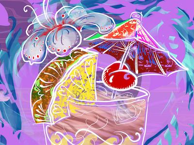 Mai Tai 4 Copyright 2017 By Edward Huse line drawing illustration mai tai cocktail hawaii