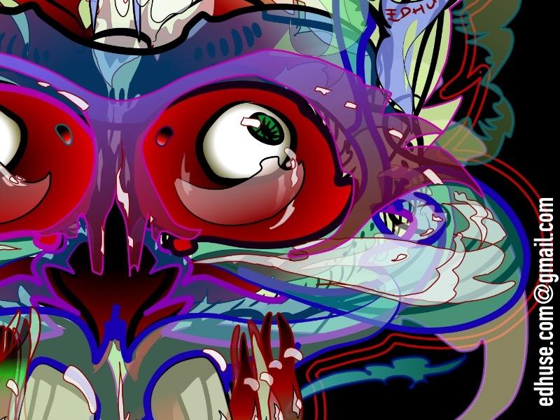 Silly Pertolan Skull 2 digital design tentor x ray ojo socket eyeballs imaginary skull illustration line drawing