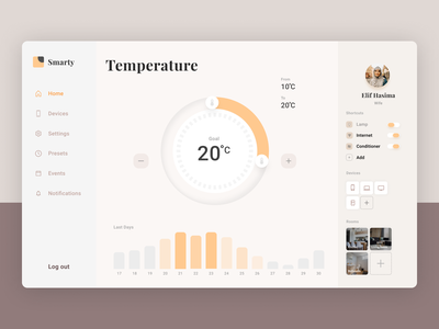 Smart Home Dashboard house home statistics ui  ux temperature graphics web tablet statistic desktop dailyui daily 100 challenge