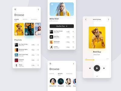 Music Player digital iphone billie eilish music uxui ux mobile minimal mobile app design dailyui daily 100 challenge