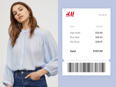 Email Receipt minimalism beauty fashion girl paper tickets ui ecommerce email