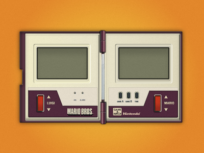 Game & watch Mario Bros interface design fireworks vector ui old electronics old arcade 80s nintendo mario