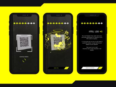 AR 'Search through the City' game cyberpunk ux ui mockup design concept branding app