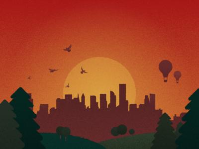 Stunning Sunset sunset grain illustration