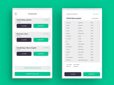 Music playlists x GitHub mobile flat simple clean app design app design music interface ui ux adobe illustrator