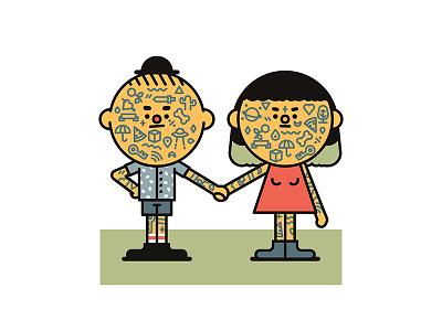 Tattooed couple illustration illustrator vector art vector