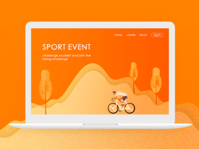 Webpage design web typesetting tree sport project people page orange hill cycling bicycle