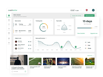 Coachbetter Dashboard stats compare players graphs planning trial onboarding web design product design uiux dashboard