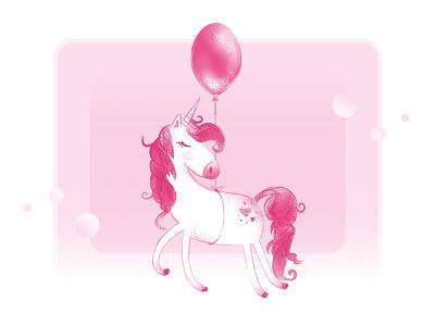 Unicorn with a balloon illustration pink unicorn-ballon ballon pink-unicorn unicorn