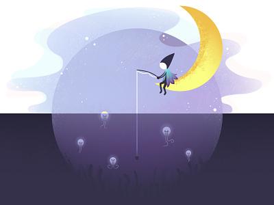 Idea fishing :) playoff fishing mind idea purple moon monument-valley illustration