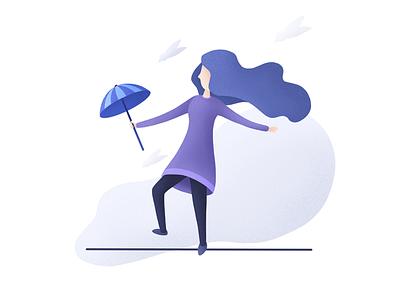 Windy umbrella line girl purple blue design web design uiux ui digital art drawing illustration procreate