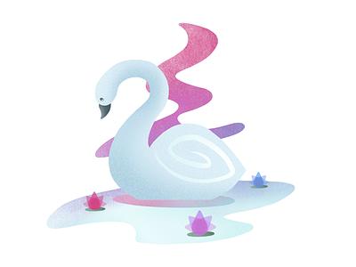 Swan lotus noise gradient colorful water swimming bird swan uiux design illustration procreate