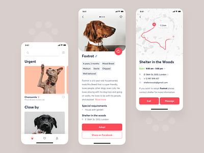 Shltr - Adoption app donate adoption interface design dog animals ux ui mobile app