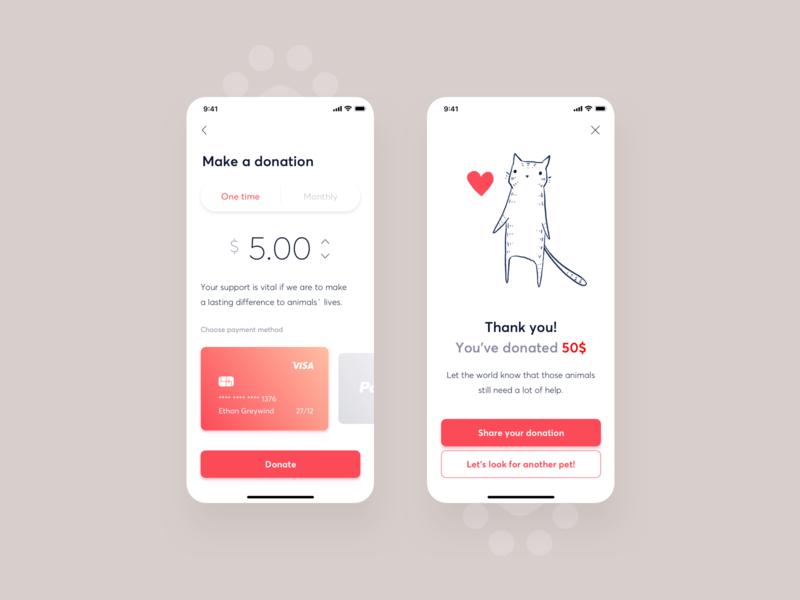 Shltr - Adoption app credit card payment interface illustration ux ui mobile design donate cat app design adoption