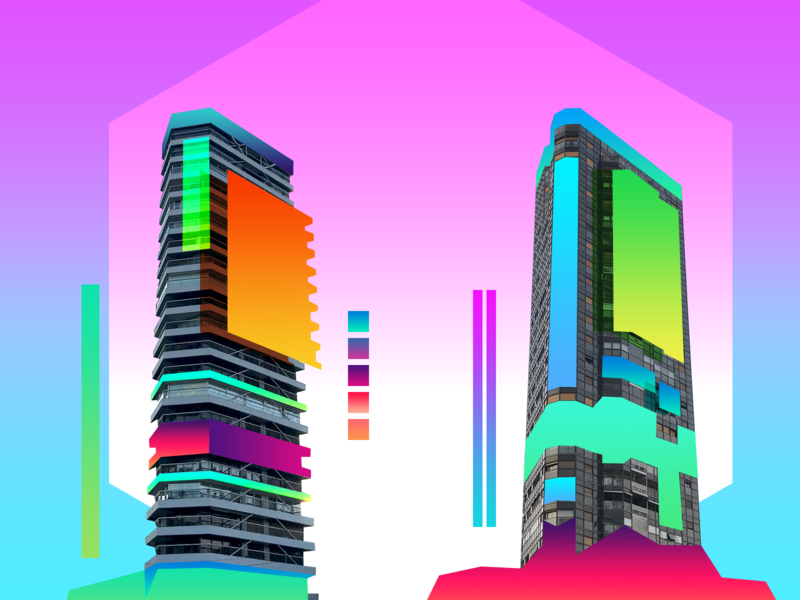 Summer Twins art abstract design structural conceptual illustraion