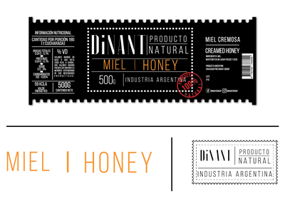 Dinant Creamed Honey Label logotype art direction graphicdesign branding labeldesign