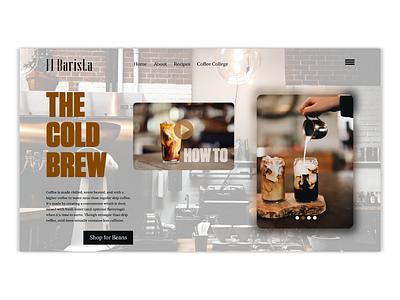 El Barista hero page landingpage ui design art direction