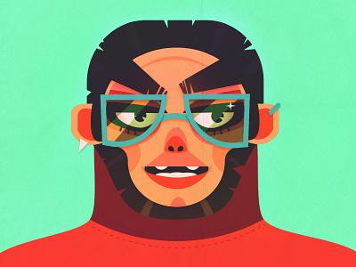 monkey portrait II glasses color animal vector face design illustrator illustration digitalart character design character portrait monkey