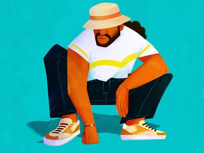 Breackdancer vibrant fashion sneakers bob hat style dancer dance men character design digitalart color illustrator character