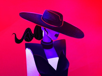 Woman under the hat skin purple black red hat fashion fashion illustration vibrant woman photoshop illustration style face color digitalart character design character