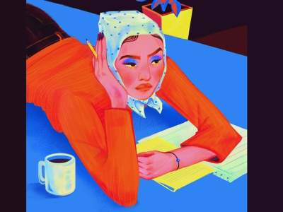No inspiration today coffee orange blue writting drawing bed makeup style face character design fashion woman portrait color illustration digitalart character