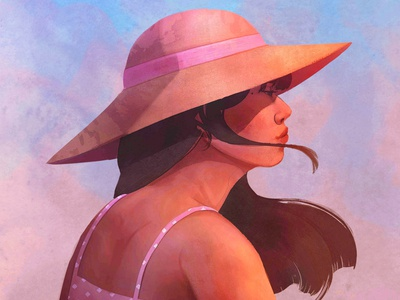 Hated girl digital painting digital art beach summer colors face illustration woman style portrait character design color digitalart character