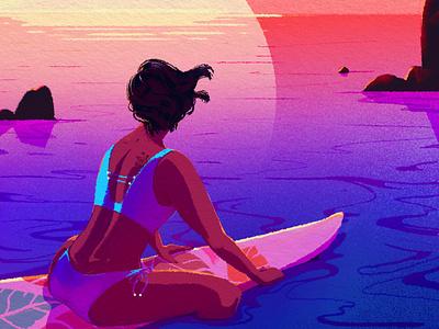 Enjoy the view character design illustration digitalart color character hair swimsuit water summer sun landscape colors sunset sea surf women