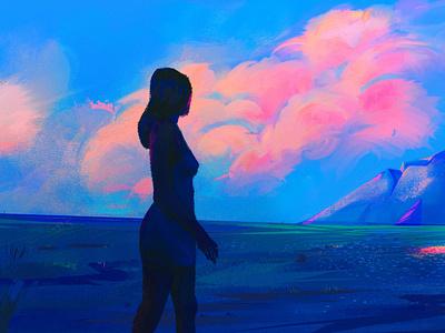 Blue Landscape cloud concept art dress montain skype digital painting illustration landscape blue woman character color digitalart