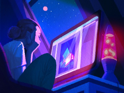 Work at night home office inspiration sky blue light lamp moon workspace work digitalart color woman night character design illustration character