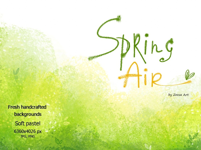 Spring Air - backgrounds summer grass yellow leaves season nature abstract air green spring back background illustrations clipart prints illustration zooza