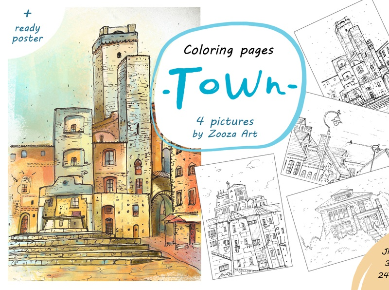 FREE coloring pages town coloring page coloring book color free illustrations design prints illustration zooza