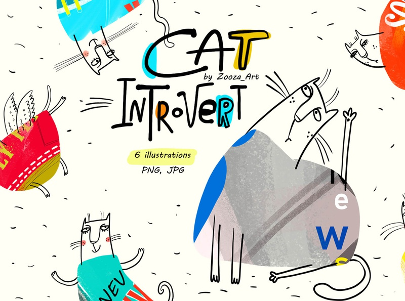 Cat Introvert - 6 cards illustrations cat animal stickers prints design clipart cats illustration zooza