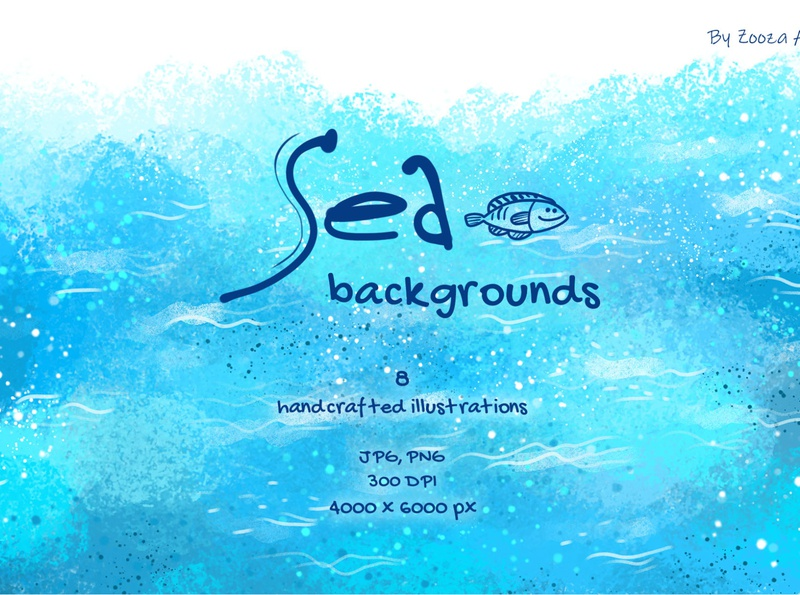 Sea backgrounds watercolor waves background ocean water sea illustrations design illustration zooza