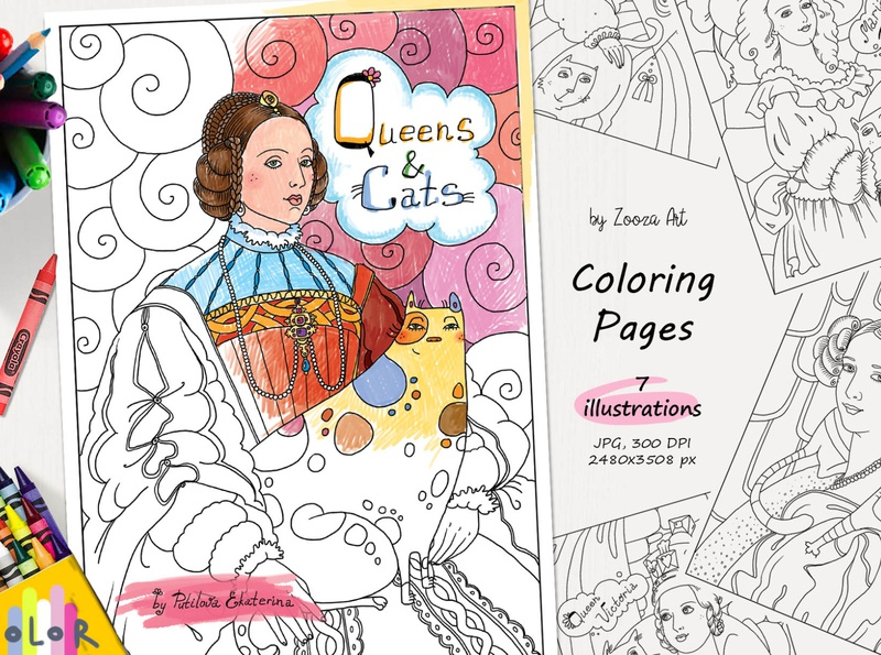 Coloring pages - Queens and Cats coloring books coloring pages art illustrations cat animal design cats illustration zooza