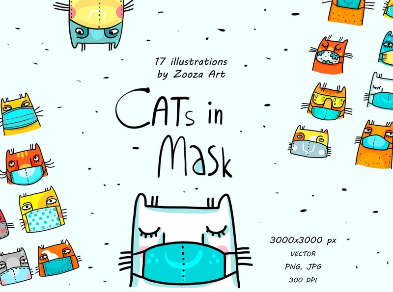 Cats in mask funny fun protection corona covid health mask cat illustrations animal stickers clipart cats prints design illustration zooza