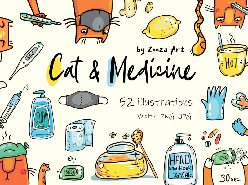Cat and medicine illustrations cat animal stickers prints clipart cats design illustration zooza