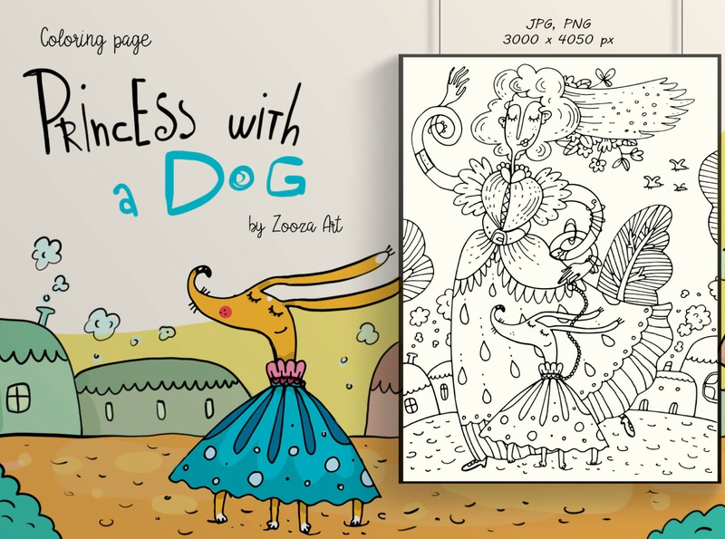 Princess with a Dog coloring book coloring page illustraion dogs dog animal design prints clipart illustration zooza