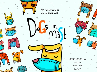 Dogs in mask medicine protection coronavirus covid mask illustraion dogs illustrations animal stickers design prints clipart illustration zooza