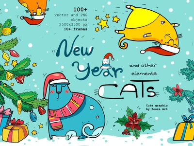 New Year Cats illustrations christmas new year cats cat illustrations animal stickers design clipart illustration zooza