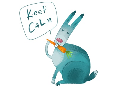 dribbble hear funny keep calm and carry on keep calm rabbit animal stickers clipart illustration zooza