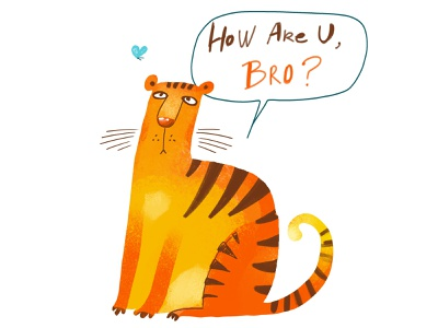 Bro cute brother funny cats tiger animal stickers prints clipart illustration zooza