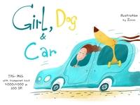 Girl, Dog and Car