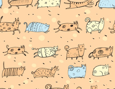 cats pattern PEACH