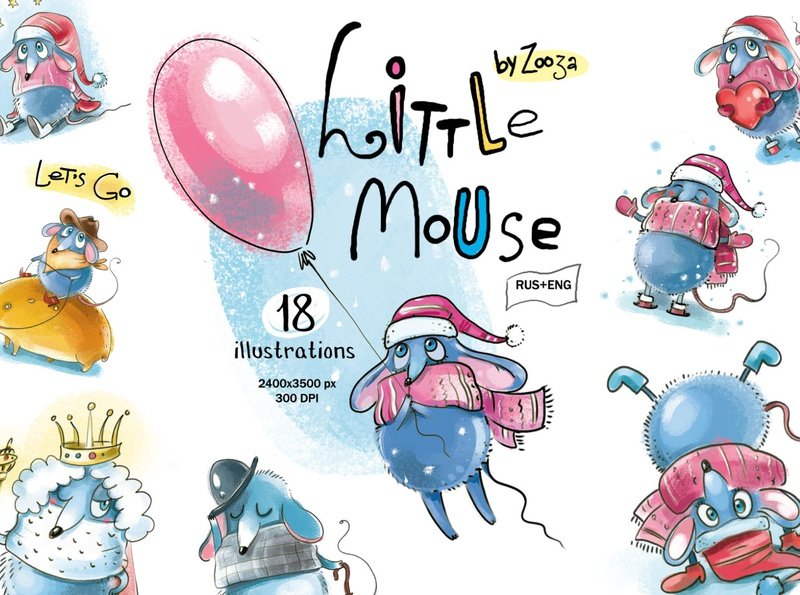 Mouse illustrations set cute warm christmas mice mouse winter animal stickers clipart prints design illustration zooza