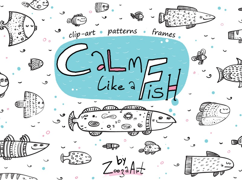 Fish collection of patterns children fish patterns illustraion illustrations animal stickers clipart prints design illustration zooza