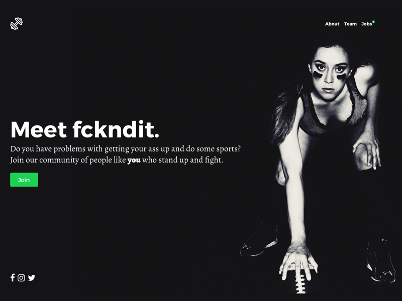 Landingpage: fckndit challenge pro running motivation football girls community app sports